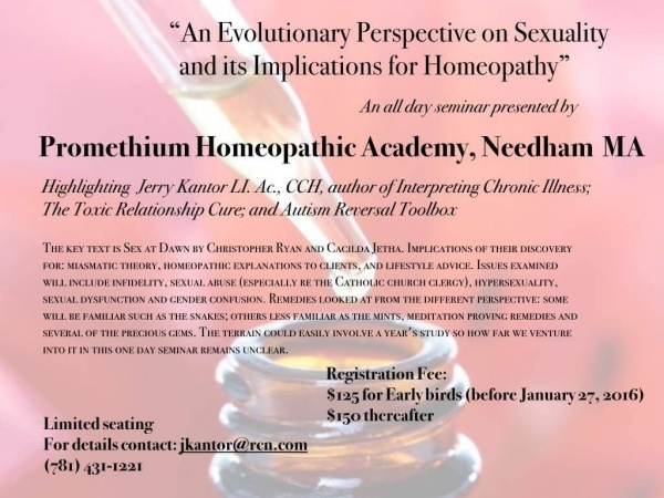 An Evolutionary Perspective on Sexuality and its Implications for Homeopathy